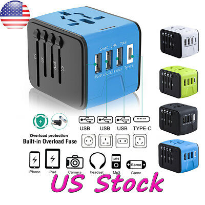 3 USB Type C Charger Universal Travel Adapter Converter US/UK/EU/AU Plug Black