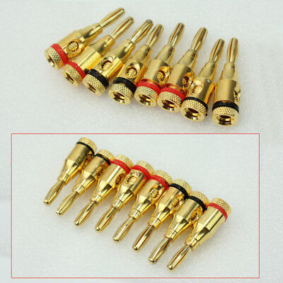 8Pcs Gold Plated Musical Audio Speaker Cable Wire 4mm Banana Plug-Connector