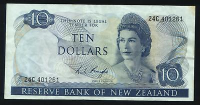 New Zealand $10 Knight 24C 401261 Clean note