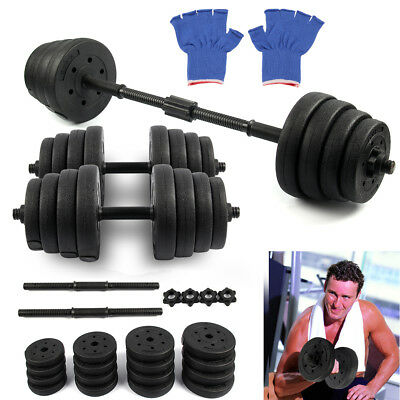 Adjustable Dumbbells set 30kg free Weight weights Barbell sets bars  dumbells