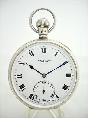 Antique Solid Silver Open Face J W Benson Pocket Watch Lon 1935 In Excellent Con