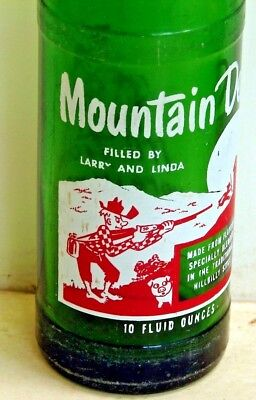 Mountain Dew 10oz. hillbilly ACL soda pop bottle - FILLED BY LARRY AND LINDA