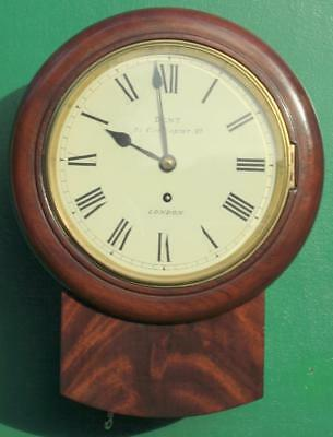 Early English Dent Of Cockspur St 8 Day Fusee Drop Dial Flame Mahogany Clock