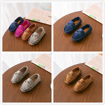 NEW Kids Baby Leather Slip On Flat Loafers Moccasins Kids Casual Boat Shoes AU