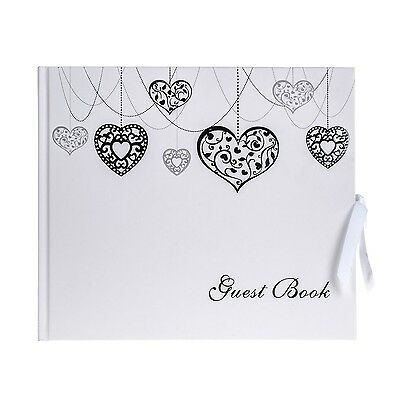Love heart wedding guest book shabby chic luxury silver white