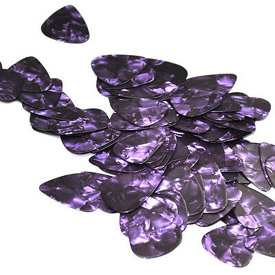 100pcs/lot Medium 0.71mm Gauge Guitar Picks Plectrums Celluloid Purple Pearl New