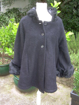 manteau cape boho chic Made in Italy taille 46 48 laine bouillie 70% comme a914f6bf99ae
