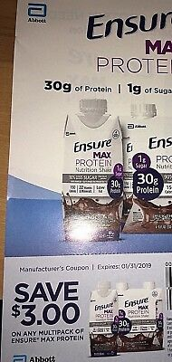 $15 Worth Of Ensure Max Coupons- 5 coupons- $3.00 each