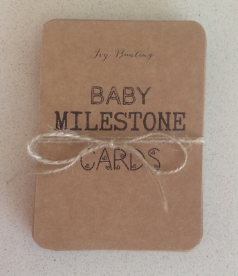 Set of 28 Recycled Kraft Card Baby Milestone Cards, A6 size - Free P+P
