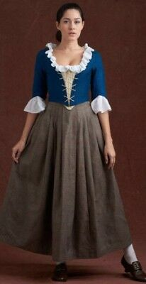 Colonial 18th Century Outlander Style Rev War Cotton Petticoat Jacket & Chemise