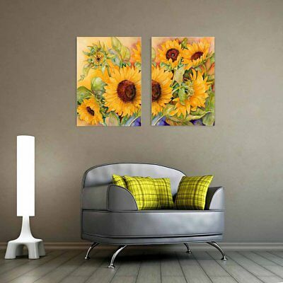 Sunflowers Bloom 2 Set Wall Art Canvas Prints Spray Printing Home Decoration  E