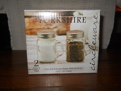 YORKSHIRE Circleware Mason Jar Glass Salt & Pepper Shakers Metal Lids NIB