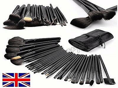 UK Professional 32 Pcs Kabuki Make Up Brush Set Eye Cosmetic Brushes Case✔ Black
