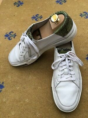 f64324c1346 Gucci Mens Trainers Sneakers White Green Leather Shoes UK 8 US 9 42  Snakeskin