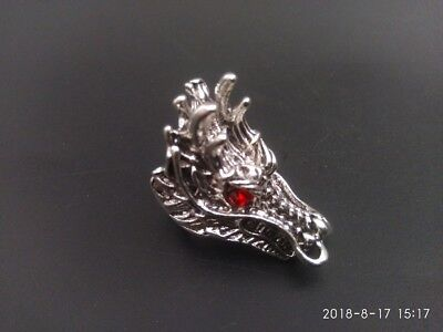 EXQUISITE Chinese Miao Silver Handwork Dragon Animal Head Finger Ring Statue NT5