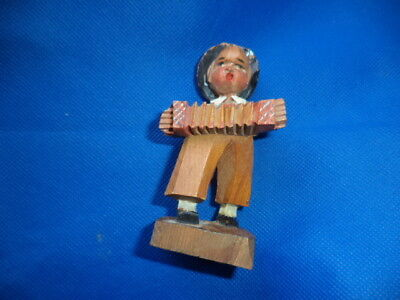 Vintage carved wooden Black Forest/Swiss Figure of boy playing accordian 1950,s