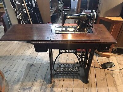 Antique 1909 Singer Sewing Machine With Treddle Base. Fitted For Electric Use.