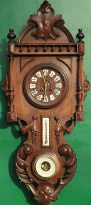 Vienna Style Weather Station Time And Strike 8 Day Hand Carved Mahogany Clock