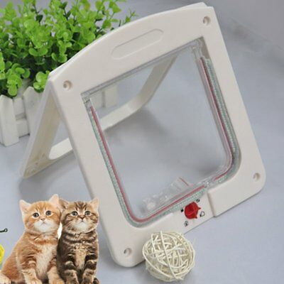 4 Way Locking Pet Cat Kitty Small Dog Doggy Puppy Flap Safe Door Tunnel ED