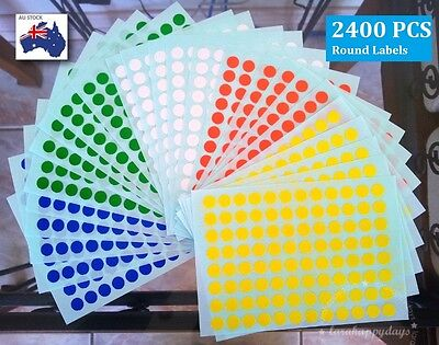 2400 Pcs Assorted Colour Code Small Round Stickers  Circle Label Dots Spots 8mm