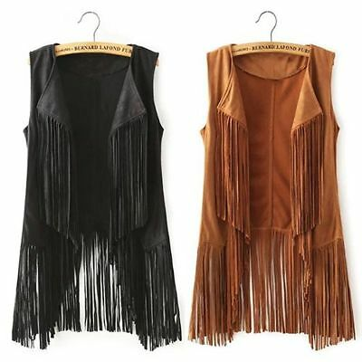 Sleeveless Women Multi-Tassel Waistcoast Fashion Casual Tassel Jacket Vest