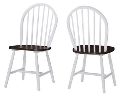 High Back Dining Chair Set of 2 Farmhouse Brown White Wood Spindle Country Seat