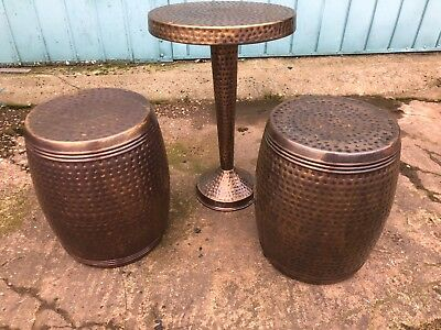 Gold Copper Metal Barrel Stools X2 And Table Garden Living Room Small Home Seats