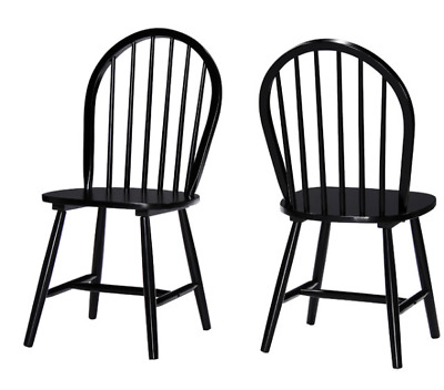 Country Spindle Dining Chair Set of 2 Farmhouse Style Black Wood High Back Seat