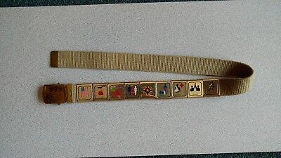 Boy Scout of America Belt Gold Tone Brass with 9 activity badges/slides, 1970's