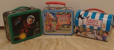lot of 3 minature lunch boxes Disney, Cany Land, Porky Pig