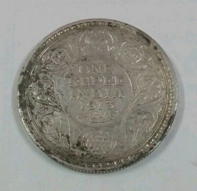 1 Rupees 1913 King George V Silver Antique Indian Coin
