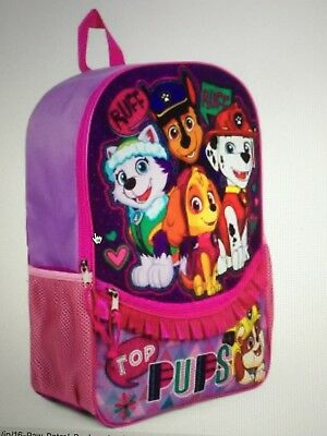 "Paw Patrol Top Pups 16"" Backpack w/ Ruffle School Book Bag Tote Full Size NWT"