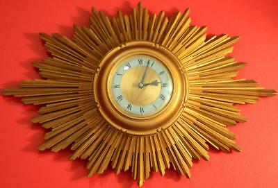 Smith English Art-Deco 8 Day Gold Gilt Sunburst Wall Clock