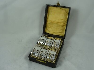 BOXED set x 6 solid silver NAPKIN RINGS, 1925, 107gm