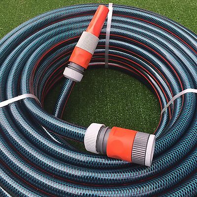 "Garden Blue Flex Water Hose 50M with 18mm - 3/4"" Fittings Nozzle 8/10 Kink-Free"