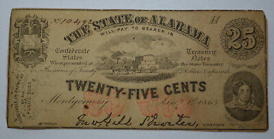 1863 25 Cent Note State Of Alabama Fractional Currency Civil War Era Paper Money