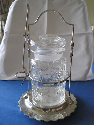 Late Victorian Cut glass Pickle Jar with EPNS Stand and Fork