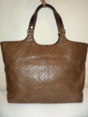 TORY BURCH Large STITCHED T Bombe British Two Tone BROWN Leather Shoulder Bag