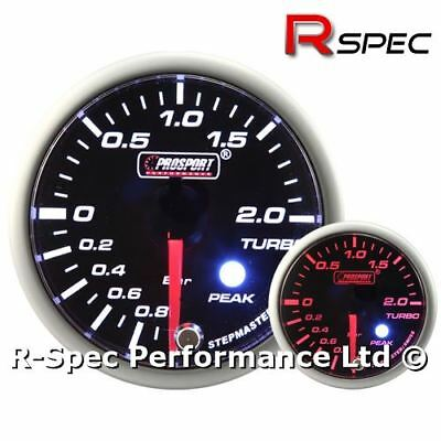 52mm Prosport Premium Amber / White Stepper Motor Peak Turbo Boost Gauge - BAR