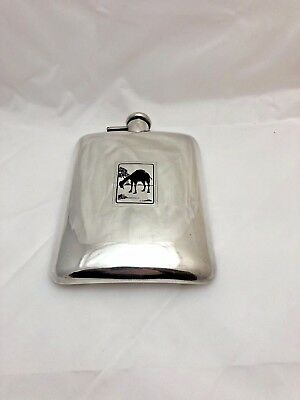 Vintage Sterling Silver .925 3/4 Pint Flask With Camel Scene 327.6 g