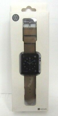 Monowear Brown Leather Band with Matte Dark Grey Adapter for 42mm Apple Watch #8