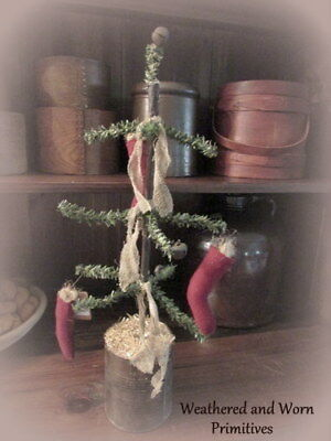 Primitive Country Pine Christmas Tree with Stockings & Aged Cheesecloth 19""