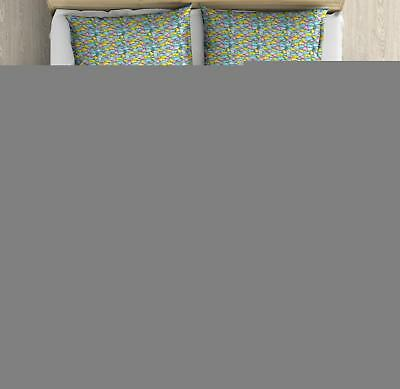 Fishes Duvet Cover Set with Pillow Shams Maritime Themed Fauna Print