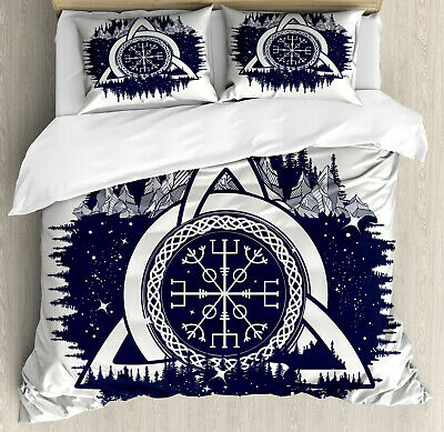 Blue and White Duvet Cover Set with Pillow Shams Celtic Knot Print