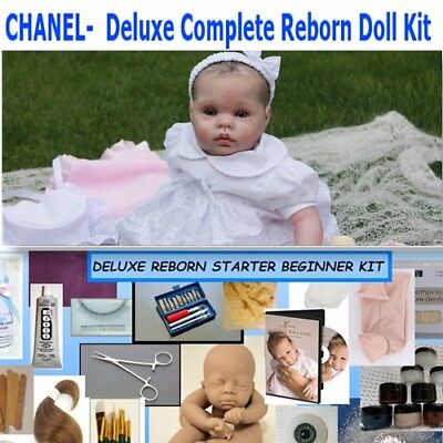 Reborn baby kit deluxe supplies to make your own baby, Chanel - paint hair eyes