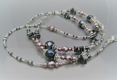 Spectacle Glasses Eyeglass Beaded Chain Hematite & Pink Silver 18S112