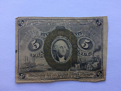 5 cents / FIVE cents fractional currency, March 3, 1863