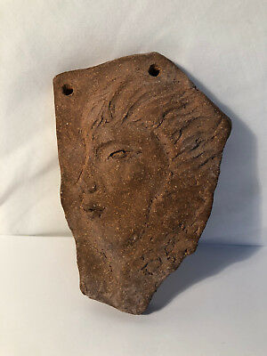 RARE Merritt Island Pottery Signed Woman's Side Profile Carved Clay Art Piece 5""