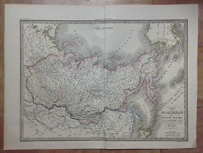 Russia Siberia Dated 1838 Pierre Lapie Large Antique Copper Engraved Map