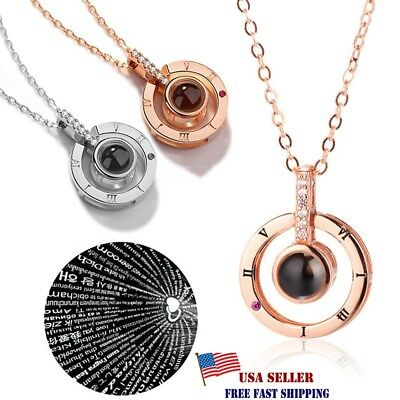 100 Languages Light Projection I Love You Round Pendant Necklace Lover Jewelry